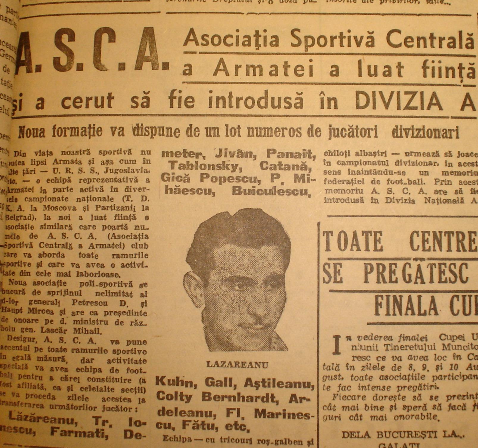 Sportul Popular de joi 7 august 1947