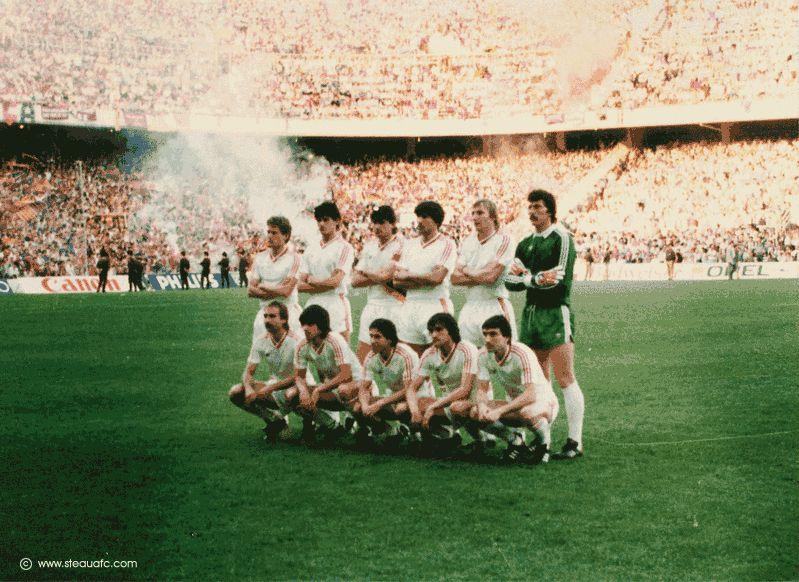 Echipa de start a Stelei în finala Cupei Campionilor Europeni, câștigată de roș-albaștri împotriva Barcelonei, pe 7 mai 1986