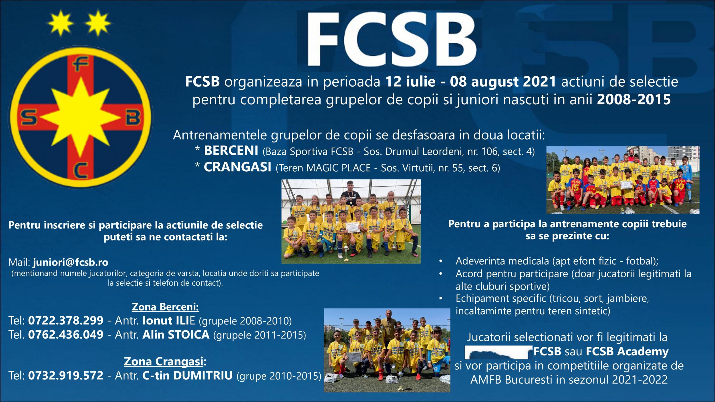 Selecție la FCSB și FCSB Academy!>