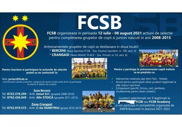 Selecție la FCSB și FCSB Academy!